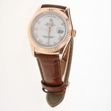 Rolex Day-Date 3156 Automatic Movement Rose Gold Case Roman Markers with White Dial-Leather Strap
