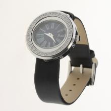 Piaget Possession Diamond Bezel Black Dial with Black Leather Strap-Lady Size