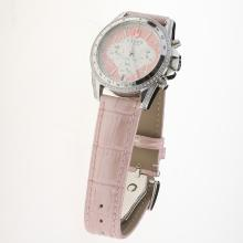 Tudor Working Chronograph Diamond Bezel with Pink Leather Strap-Lady Size