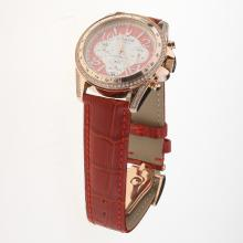 Tudor Working Chronograph Rose Gold Case Diamond Bezel with Red Leather Strap-Lady Size