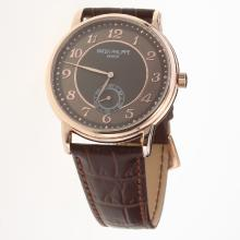 Patek Philippe Calatrava Rose Gold Case Number Markers with Brown Dial-Leather Strap