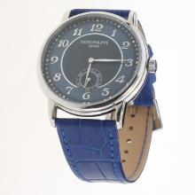 Patek Philippe Calatrava Number Markers with Blue Dial-Leather Strap