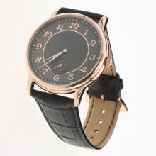 Patek Philippe Calatrava Rose Gold Case Number Markers with Black Dial-Leather Strap