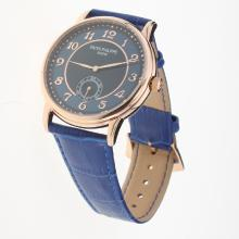 Patek Philippe Calatrava Rose Gold Case Number Markers with Blue Dial-Leather Strap