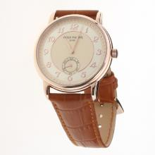 Patek Philippe Calatrava Rose Gold Case Number Markers with Champagne Dial-Leather Strap