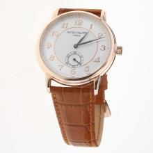 Patek Philippe Calatrava Rose Gold Case Number Markers with White Dial-Leather Strap
