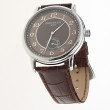 Patek Philippe Calatrava Number Markers with Brown Dial-Leather Strap