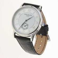 Patek Philippe Calatrava Number Markers with White Dial-Leather Strap