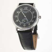 Patek Philippe Calatrava Number Markers with Black Dial-Leather Strap