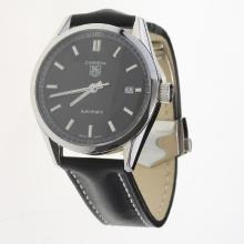 Tag Heuer Carrera Swiss ETA 2824 Movement with Black Dial-Leather Strap