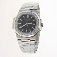 Patek Philippe Nautilus MIYOTA 9015 Automatic Movement Diamond Bezel with Black Dial S/S