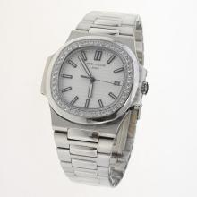 Patek Philippe Nautilus MIYOTA 9015 Automatic Movement Diamond Bezel with White Dial S/S