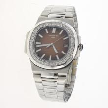 Patek Philippe Nautilus MIYOTA 9015 Automatic Movement Diamond Bezel with Brown Dial S/S