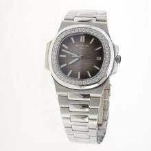 Patek Philippe Nautilus MIYOTA 9015 Automatic Movement Diamond Bezel with Gray Dial S/S