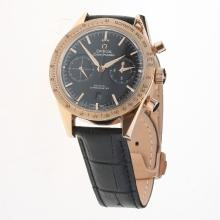 Omega Speedmaster Chronograph Swiss Valjoux 7750 Movement Rose Gold Case with Black Dial(Extra Brown Leather Strap is Included))