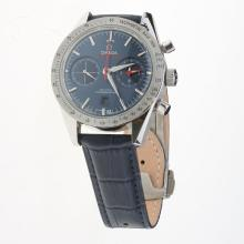 Omega Speedmaster Chronograph Swiss Valjoux 7750 Movement with Blue Dial(Extra Black Leather Strap is Included))