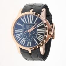 Roger Dubuis Excalibur Automatic Rose Gold Case with Black Dial-Leather Strap-1