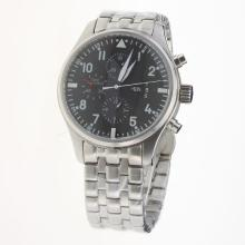 IWC Pilot Chronograph Swiss Valjoux 7750 Movement with Black Dial S/S-1