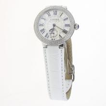 Cartier Ballon bleu de Cartier Diamond Bezel with White Dial-White Leather Strap