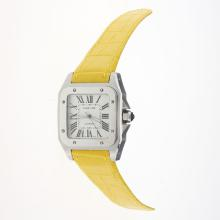 Cartier Santos 100 Automatic with White Dial-Yellow Leather Strap