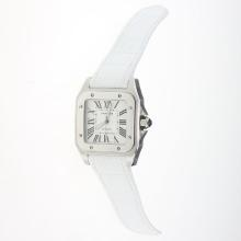 Cartier Santos 100 Automatic with White Dial-White Leather Strap