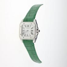 Cartier Santos 100 Automatic with White Dial-Green Leather Strap