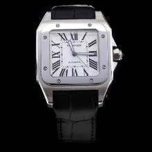Cartier Santos 100 Automatic with White Dial-Black Leather Strap