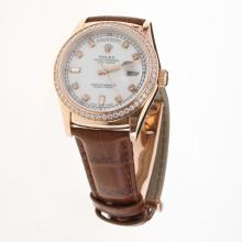 Rolex Day-Date 3156 Automatic Movement Rose Gold Case Diamond Markers & Bezel with White Dial-Leather Strap