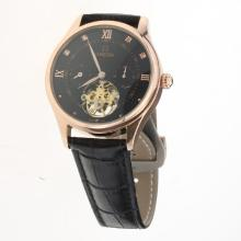 Omega Tourbillon Automatic Rose Gold Case with Black Dial-Leather Strap