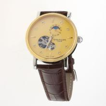 Omega Tourbillon Automatic Two Tone Case with Golden Dial-Leather Strap
