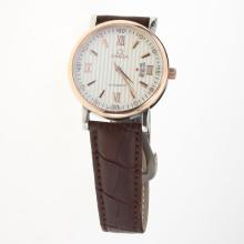 Omega Automatic Two Tone Case White Dial with Leather Strap-18K Plated Gold Movement