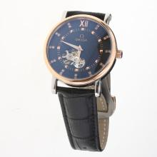 Omega Automatic Two Tone Case with Black Dial-Leather Strap