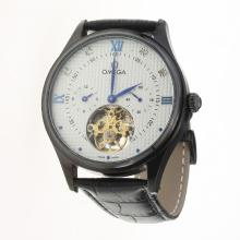 Omega Tourbillon Automatic PVD Case with White Dial-Leather Strap