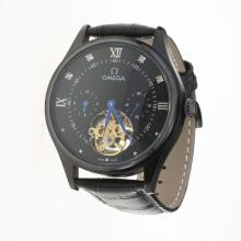 Omega Tourbillon Automatic PVD Case with Black Dial-Leather Strap