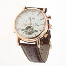 Omega Tourbillon Automatic Rose Gold Case with White Dial-Leather Strap-3