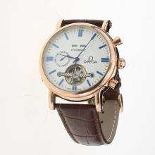 Omega Tourbillon Automatic Rose Gold Case with White Dial-Leather Strap-2