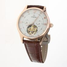 Omega Tourbillon Automatic Rose Gold Case with White Dial-Leather Strap-1