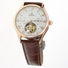 Omega Tourbillon Automatic Rose Gold Case with White Dial-Leather Strap