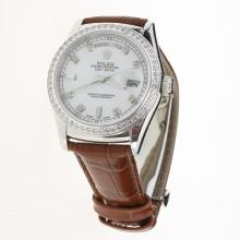 Rolex Day-Date 3156 Automatic Movement Diamond Markers & Bezel with White Dial-Leather Strap