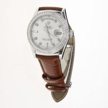 Rolex Day-Date 3156 Automatic Movement Diamond Markers & Bezel with Silver Dial-Leather Strap