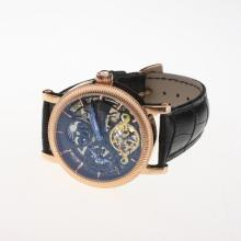 Patek Philippe Tourbillon Working Two Time Zone Automatic Rose Gold Case with Skeleton Dial-Leather Strap