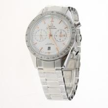 Omega Speedmaster Chronograph Swiss Valjoux 7750 Movement with White Dial S/S-1