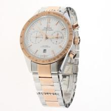 Omega Speedmaster Chronograph Swiss Valjoux 7750 Movement Two Tone with White Dial-1