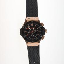 Hublot Big Bang Automatic Rose Gold Case Ceramic Bezel with Black Carbon Fibre Style Dial-Rubber Strap-2