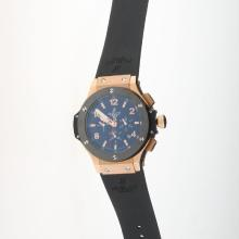 Hublot Big Bang Automatic Rose Gold Case Ceramic Bezel with Black Carbon Fibre Style Dial-Rubber Strap-1