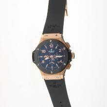 Hublot Big Bang Automatic Rose Gold Case Ceramic Bezel with Black Carbon Fibre Style Dial-Rubber Strap