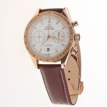 Omega Speedmaster Chronograph Swiss Valjoux 7750 Movement Rose Gold Case with White Dial-Leather Strap