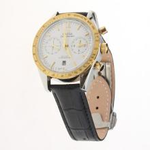 Omega Speedmaster Chronograph Swiss Valjoux 7750 Movement Two Tone Case with White Dial-Leather Strap-1