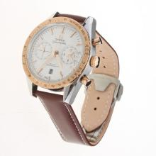 Omega Speedmaster Chronograph Swiss Valjoux 7750 Movement Two Tone Case with White Dial-Leather Strap