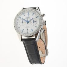 Omega Speedmaster Chronograph Swiss Valjoux 7750 Movement with White Dial-Leather Strap